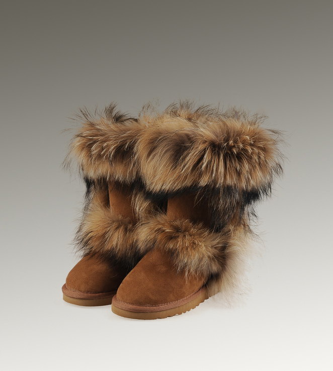 UGG Fox Fur Short 5825 Chestnut Boots